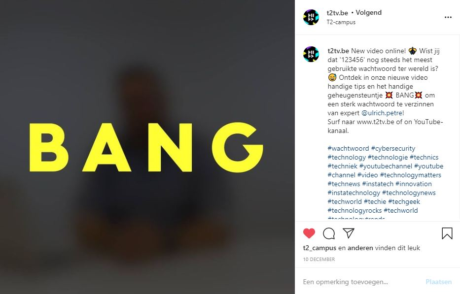 video goed wachtwoord - Bang